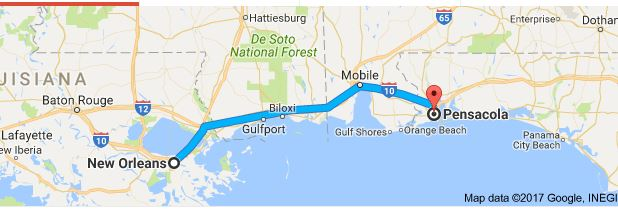 Last week to make NOLA-Pensacola four state, three hour, drive